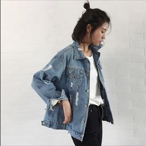 outlet store sale special selection of choose genuine Oversized ripped denim jacket NWT